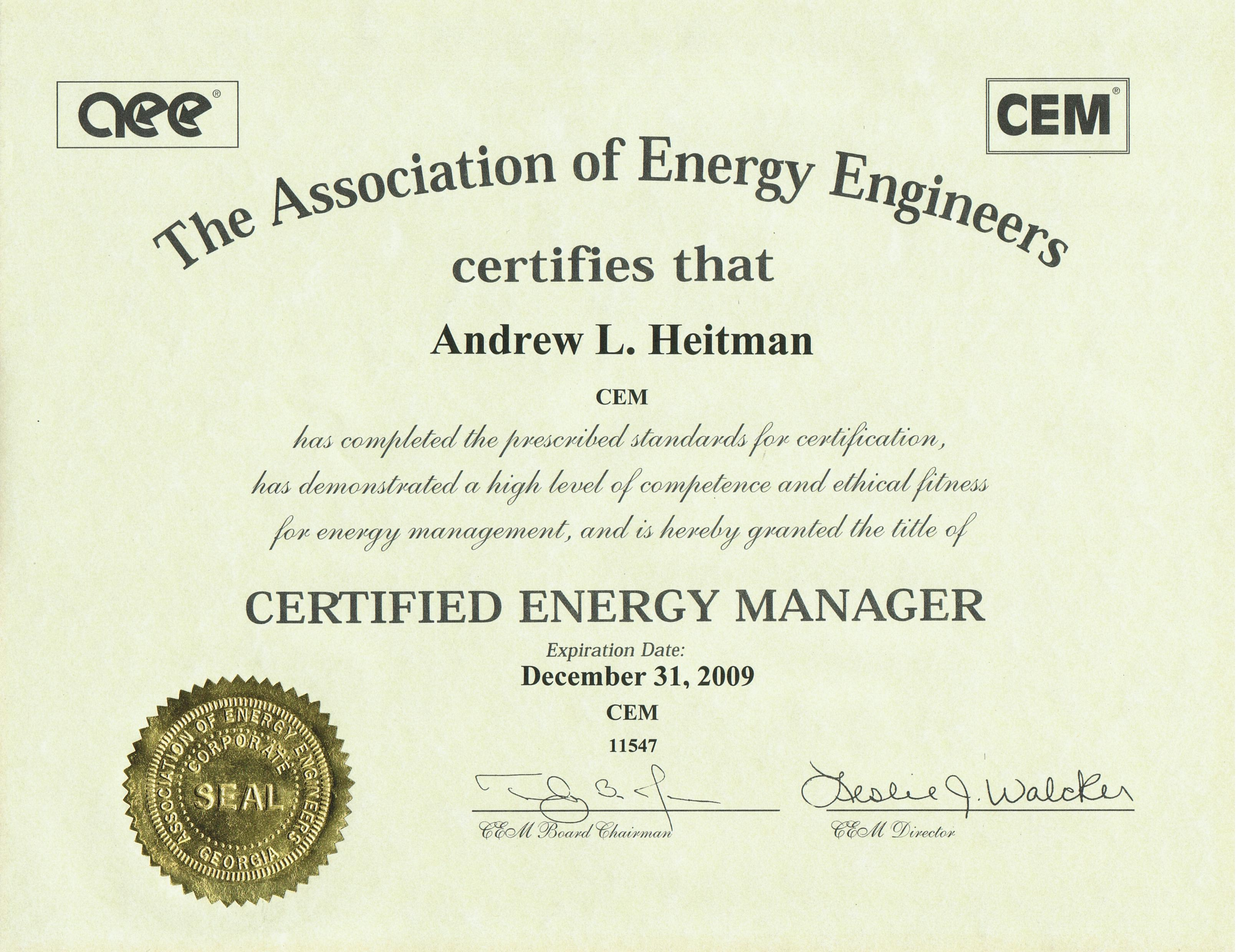 Certified Energy Manager